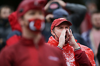 Arkansas fans react to officials, Saturday, November 21, 2020 during the fourth quarter of a football game at Donald W. Reynolds Razorback Stadium in Fayetteville. Check out nwaonline.com/201122Daily/ for today's photo gallery. <br /> (NWA Democrat-Gazette/Charlie Kaijo)