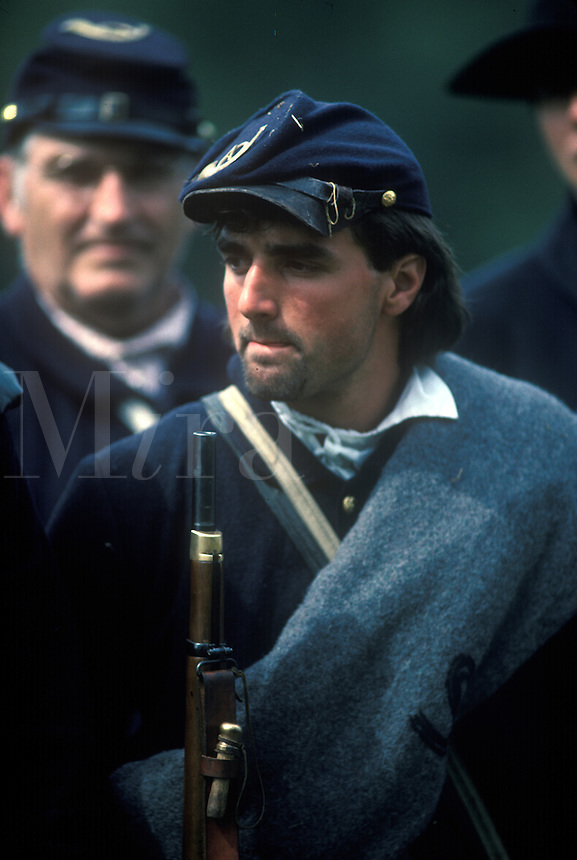 Reenactment of a Northern Union soldier in the time frame of the American Civil War , 1861-1865