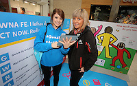 Pictured L-R: Sara Manchipp and Elena Jones Saturday 18 Saturday<br />Re: Welsh Government Dementia Risk Prevention Roadshow at the Quadrant Shopping Centre in Swansea, Wales, UK.