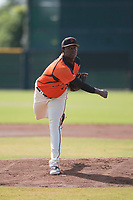 San Francisco Giants relief pitcher Gregory Santos (76) follows through on his delivery during an Instructional League game against the Kansas City Royals at the Giants Training Complex on October 17, 2017 in Scottsdale, Arizona. (Zachary Lucy/Four Seam Images)