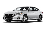 Stock pictures of low aggressive front three quarter view of 2020 Nissan Altima SV 4 Door Sedan Low Aggressive