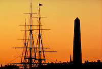 USS Constitution silhouette with Bunker Hill