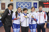 SPEEDSKATING: 14-02-2020, Utah Olympic Oval, ISU World Single Distances Speed Skating Championship, Podium 500m Ladies, Angelina Golikova (RUS), Nao Kodaira (JPN), Olga Fatkulina (RUS), ©Martin de Jong