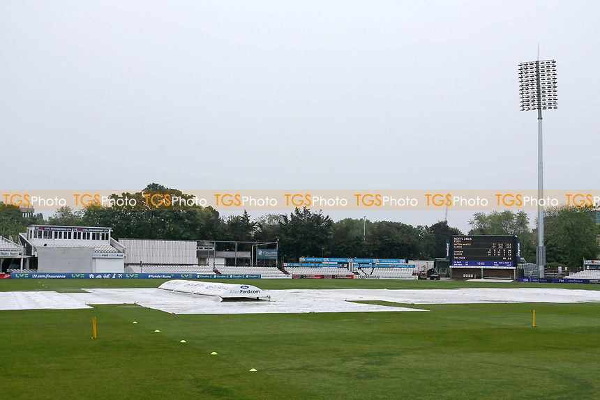 The covers are on the pitch as rain falls during Day Two of Essex CCC vs Nottinghamshire CCC, LV Insurance County Championship Group 1 Cricket at The Cloudfm County Ground on 4th June 2021
