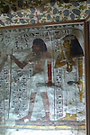 Wall painting in the Tomb of Sennefer at Thebes.The painting is of Sennefer and his wife Meryt.Sennefer was the mayor of Thebes and overseer of the gardens of Amun in the time of Amenhotep II who ruled Egypt from 1427-1401 or 1427-1397 BC. Thebes is the name the Greeks gave to Waset, the ancient capital of Egypt.