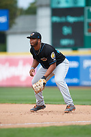 Akron RubberDucks first baseman Bobby Bradley (44) during a game against the Erie SeaWolves on August 27, 2017 at UPMC Park in Erie, Pennsylvania.  Akron defeated Erie 6-4.  (Mike Janes/Four Seam Images)