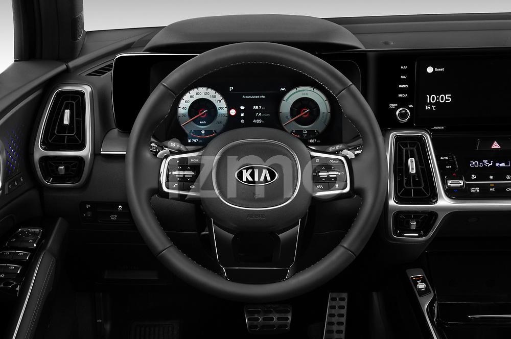 Car pictures of steering wheel view of a 2021 KIA Sorento-Hybride Sense 5 Door SUV Steering Wheel