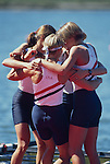 US rowing team, lightweight women's quadruple sculls, team celebrating a season of competition by winning the 1994 FISA World Rowing Championships, Indianapolis, Indiana.