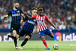 Thomas Lemar (R) of Atletico de Madrid fights for the ball with Lautaro Javier Martinez (C) of FC Internazionale during their International Champions Cup Europe 2018 match between Atletico de Madrid and FC Internazionale at Wanda Metropolitano on 11 August 2018, in Madrid, Spain. Photo by Diego Souto / Power Sport Images