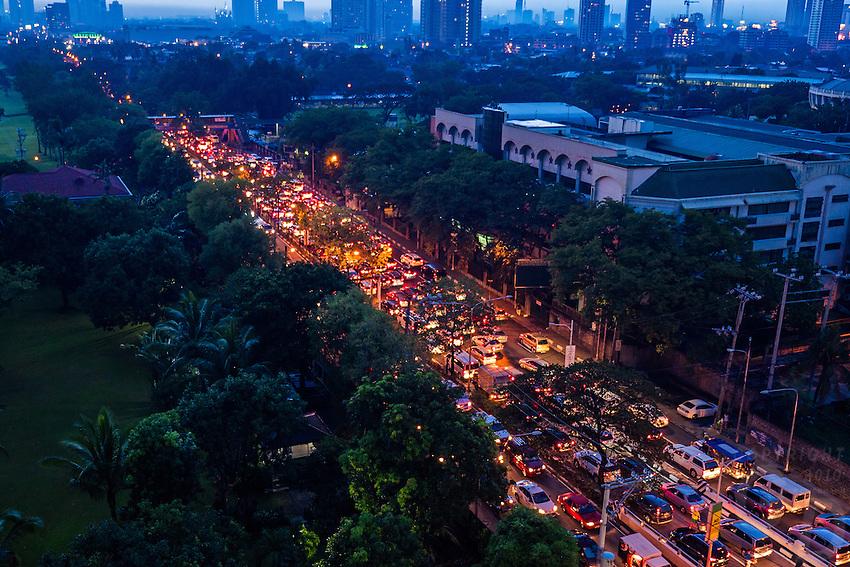 Traffic jam in Manila during the Monsoon Season and heavy rain downpour