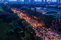Traffic jam in Manila during the Monsoon Season and heavy rain downpour