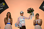 Romain Bardet (FRA) AG2R La Mondiale wins the mountains Polka Dot Jersey on the final podium at the end of Stage 21 of the 2019 Tour de France running 128km from Rambouillet to Paris Champs-Elysees, France. 28th July 2019.<br /> Picture: ASO/Pauline Ballet   Cyclefile<br /> All photos usage must carry mandatory copyright credit (© Cyclefile   ASO/Pauline Ballet)