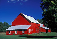 AJ1980, barn, New York, Adirondacks, A bright red barn and farmhouse with a gray roof in Wells in the Adirondack Park.