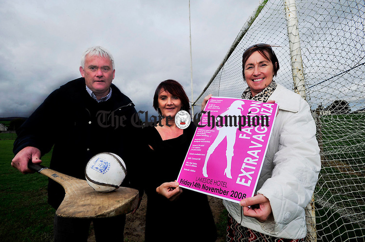 Arthur Stritch, Chairman of the Minor Club, Mary Mc Namara of ML's Hair Studio and show organiser Majella O' Brien pictured at Killaloe G.A.A pitch to launch the Fashion Show Extravaganza. Photograph by Declan Monaghan