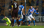 St Johnstone v Hearts…10.08.16..  McDiarmid Park…BetFred Cup<br />Brad McKay celebrates his goal with Chris Kane <br />Picture by Graeme Hart.<br />Copyright Perthshire Picture Agency<br />Tel: 01738 623350  Mobile: 07990 594431