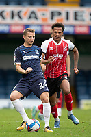 Jason Demetriou, Southend United plays the ball back under pressure from Elliot Bonds, Cheltenham Town during Southend United vs Cheltenham Town, Sky Bet EFL League 2 Football at Roots Hall on 17th October 2020