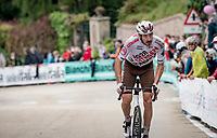 Alexis Gougeard (FRA/AG2R Citroën), who was part of the original breakaway group is now dropped by the peloton up the 15% climb in Guarene, 15 kilometers from the finish <br /> <br /> 104th Giro d'Italia 2021 (2.UWT)<br /> Stage 3 from Biella to Canale (190km)<br /> <br /> ©kramon