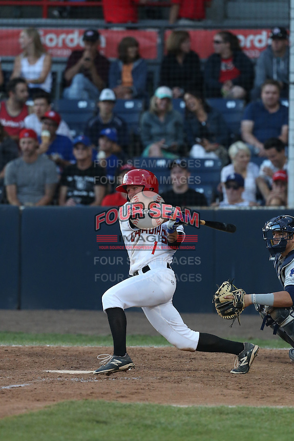 Andrew Guillotte (1) of the Vancouver Canadians bats during a game against the Tri-City Dust Devils at Nat Bailey Stadium on July 23, 2015 in Vancouver, British Columbia. Tri-City defeated Vancouver, 6-4. (Larry Goren/Four Seam Images)