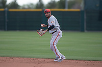 San Francisco Giants second baseman Kevin Rivera (15) prepares to make a throw to first base during a Minor League Spring Training game against the Cleveland Indians at the San Francisco Giants Training Complex on March 14, 2018 in Scottsdale, Arizona. (Zachary Lucy/Four Seam Images)
