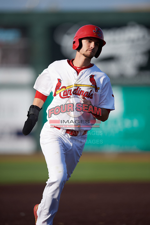 Johnson City Cardinals right fielder Brandon Riley (32) runs the bases during a game against the Danville Braves on July 29, 2018 at TVA Credit Union Ballpark in Johnson City, Tennessee.  Johnson City defeated Danville 8-1.  (Mike Janes/Four Seam Images)
