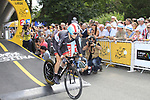 Christopher Horner (USA) Radioshack-Nissan powers down the start ramp of the Prologue of the 99th edition of the Tour de France 2012, a 6.4km individual time trial starting in Parc d'Avroy, Liege, Belgium. 30th June 2012.<br /> (Photo by Eoin Clarke/NEWSFILE)