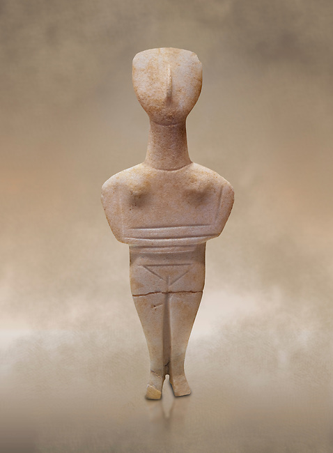 Cyclades spedos type stone statue figurine with folded arms, Archanes Phourni, 2300-1700 BC. Heraklion Archaeological Museum.<br /> <br /> These voitive atatues were buried with the dead all over the Ctcladic Islands of Greece