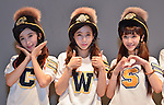 """Cho-A, Way and So-Yul(CRAYON POP), July 22, 2015 : (L-R) Choa, Way and Soyul of Crayon Pop pose for camera during the promotion event for their new single """"ra ri ru re"""" at Lazona Kawasaki Plaza in Kawasaki, kanagawa prefecture, Japan, on July 22, 2015. They performed the opening act for Lady Gaga's """"ArtRave: The Artpop Ball concert tour"""" in twelve cities across North America on 2014."""