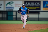 Tampa Tarpons designated hitter Steven Sensley (27) running the bases during a Florida State League game against the Lakeland Flying Tigers on April 5, 2019 at Publix Field at Joker Marchant Stadium in Lakeland, Florida.  Lakeland defeated Tampa 5-3.  (Mike Janes/Four Seam Images)