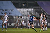 19th February 2021; Recreation Ground, Bath, Somerset, England; English Premiership Rugby, Bath versus Gloucester; Rhys Priestland of Bath kicks a long distance penalty to put Bath 2 points ahead with 2 minutes remaining