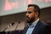 Stand Up To Racism Conference 2017. Held in central London. 22-10-17 Harun Rashid Khan of the Muslim Council of Britian,