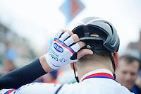 Zdenek Stybar (CZE/OmegaPharma-Quickstep) 'hides' a MyKnoaky good luck charm in his helmet<br /> <br /> Sluitingsprijs Putte-Kapellen 2014