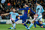 Lionel Andres Messi (R) of FC Barcelona fights for the ball with Sergi Gomez Sola of RC Celta de Vigo during the Copa Del Rey 2017-18 Round of 16 (2nd leg) match between FC Barcelona and RC Celta de Vigo at Camp Nou on 11 January 2018 in Barcelona, Spain. Photo by Vicens Gimenez / Power Sport Images