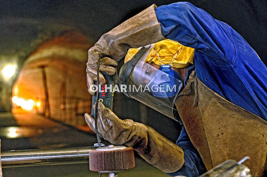 Trabalhador na obra do Metro. Salvador. Bahia. 2007. Foto de Sergio Amaral.
