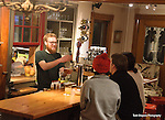Justin Hyjek, barista and bartender, at the Homestyle  Hostel Inn and Cafe - a cozy, new Inn he is running with his partner Eliza Greene in Ludlow, Vermont near Okemo Mountain.