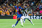 Douglas Costa (r) of Juventus is tackled by Nelson Cabral Semedo of FC Barcelona during the UEFA Champions League 2017-18 match between FC Barcelona and Juventus at Camp Nou on 12 September 2017 in Barcelona, Spain. Photo by Vicens Gimenez / Power Sport Images