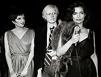 Minelli Warhol Jagger6859.JPG<br /> New York, NY 1978 FILE PHOTO<br /> Liza Minelli, Andy Warhol, Bianca Jagger<br /> Studio 54<br /> Digital photo by Adam Scull-PHOTOlink.net<br /> ONE TIME REPRODUCTION RIGHTS ONLY<br /> NO WEBSITE USE WITHOUT AGREEMENT<br /> 718-487-4334-OFFICE  718-374-3733-FAX