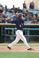 Brett Phillips (6) of the Lancaster JetHawks bats during a game against the Modesto Nuts at The Hanger on April 25, 2015 in Lancaster, California. Lancaster defeated Modesto, 5-4. (Larry Goren/Four Seam Images)