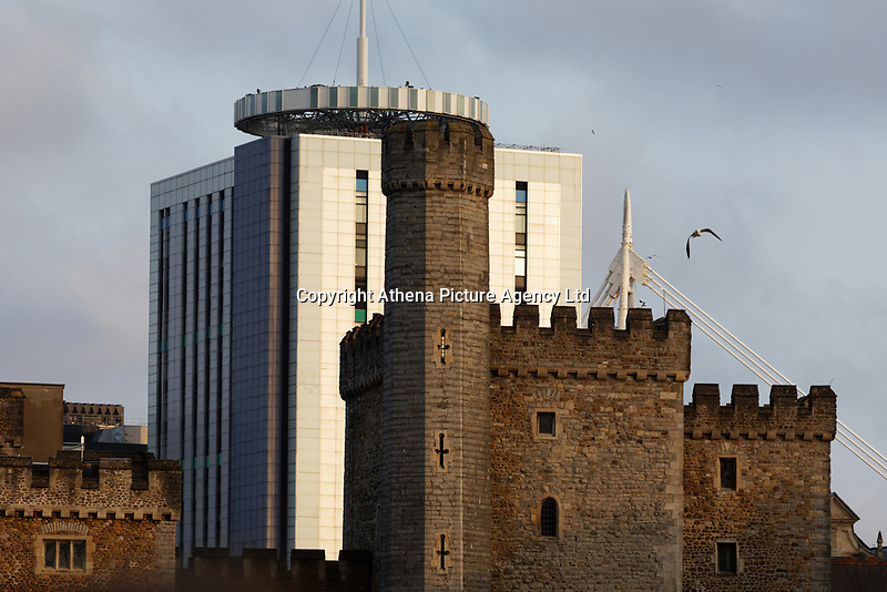 Cardiff Castle and the BT buildinge as seen from Cardiff Castle, south Wales, UK.