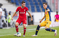 25th August 2020, Red Bull Arena, Slazburg, Austria; Pre-season football friendly, Red Bull Salzburg versus Liverpool FC;  James Milner FC Liverpool holds off Luca Sucic FC Red Bull Salzburg