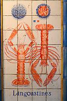 """Europe/France/Ile-de-France/75014/Paris: la """"Poissonnerie du Dôme"""" détail des Mosaïques réalisées en 1980 par Slavik- Langoustines"""