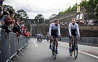 Dan Martin (IRE/Israel Start-Up Nation) & Michael Woods (CAN/Israel Start-Up Nation) at the pre Tour teams presentation of the 108th Tour de France 2021 in Brest at Le Grand Départ <br /> <br /> ©kramon
