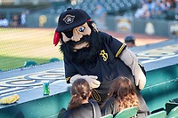 Bradenton Marauders mascot Marty jokes with fans during a game against the Daytona Tortugas on June 9, 2021 at LECOM Park in Bradenton, Florida.  (Mike Janes/Four Seam Images)