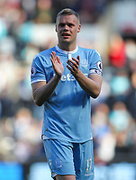 April 22nd 2017, Liberty Stadium, Swansea, Wales; EPL Premier League football, Swansea Town versus Stoke City; Ryan Shawcross (Captain) of Stoke City applauds the travelling fans after the match