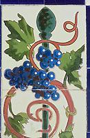 Europe/France/06/Alpes-Maritimes/Menton: Grappe de raisin sur les Céramiques polychromes du Jardin de Fontana Rosa de l'écrivain espagnol Vicente Blasco Ibanez.<br /> Son atmosphère sont proches de ceux régnant dans les jardins arabo-persans et andalous