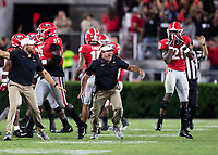 ATHENS, GA - SEPTEMBER 21: head coach Kirby Smart of the Georgia Bulldogs celebrates after a Georgia interception during a game between Notre Dame Fighting Irish and University of Georgia Bulldogs at Sanford Stadium on September 21, 2019 in Athens, Georgia.