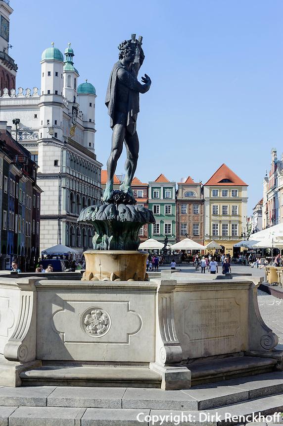 Brunnen + Rathaus am alten Marktplatz (Stary Rynek) in Posnan (Posen), Woiwodschaft Großpolen (Województwo wielkopolskie), Polen Europa<br /> Fountain and townhall at Old Market Place (Stary Rynek) in Pozan, Poland, Europe