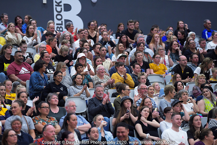 Fans in the grandstand during the Cadbury Netball Series final between NZ Silver Ferns and NZ Men at the Fly Palmy Arena in Palmerston North, New Zealand on Saturday, 24 October 2020. Photo: Dave Lintott / lintottphoto.co.nz