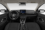 Stock photo of straight dashboard view of 2020 Toyota Yaris Dynamic 5 Door Hatchback Dashboard