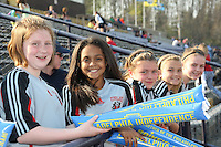 Young fans from Vineland in stands prior to the Philly home opener.  Philadelphia hosted the Atlanta Beat in the inaugural game for both teams at John A Farrell Stadium in West Chester, PA.  The game ended in a scoreless tie.