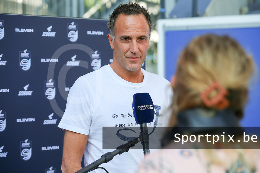 Head coach Stephane Guidi of Standard gives an interview before a female soccer game between Oud Heverlee Leuven and Standard Femina de Liege on the third matchday of the 2021 - 2022 season of Belgian Womens Super League , Sunday 5 th of September 2021  in Leuven , Belgium . PHOTO SPORTPIX.BE   SEVIL OKTEM